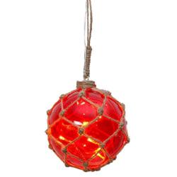 Noah Marin glasboll med ljusslinga 12cm röd