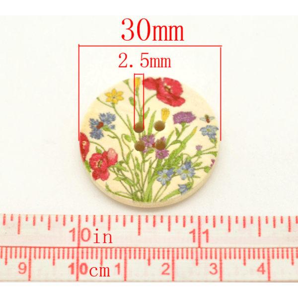 10 knappar i trä med ängsblommor - 3 cm