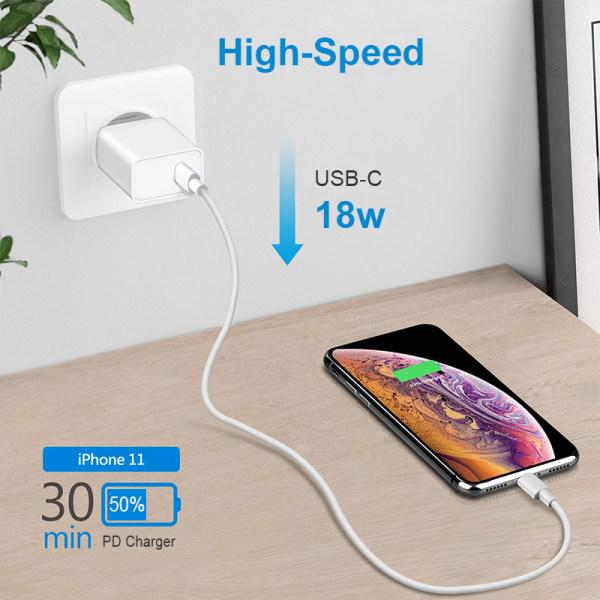 snabb väggladdare - USB-C PD, USB-A - 18W