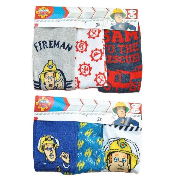 3-pack Brandman Sam strumpor Blue 27/30 Blå/Vit