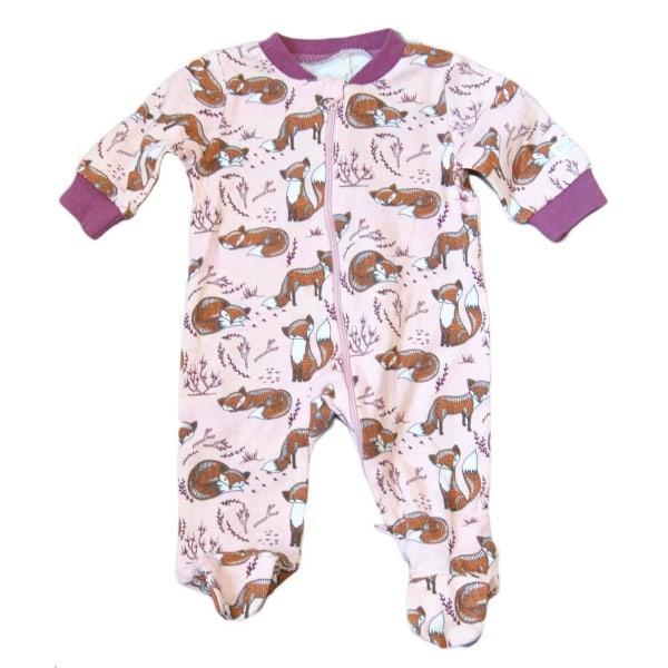 Pyjamasoverall med fötter, rävar 50 cl Rosa