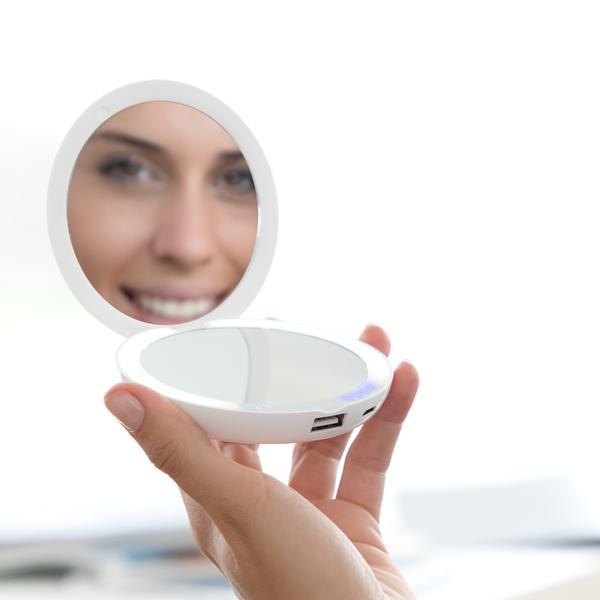 Sminkspegel  Powerbank  3000 mAh -  3-i-1  Sminkspegel