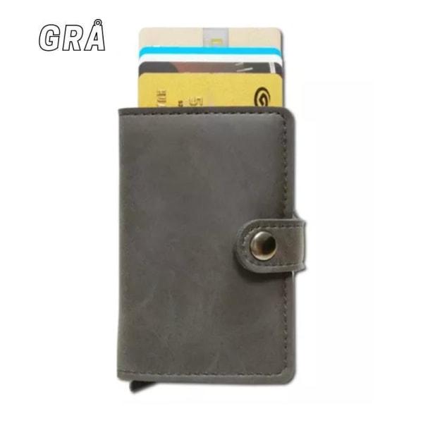 Smart RFID Korthållare -Vegan Läder- 7st kort Plånbok med Knapp Svart