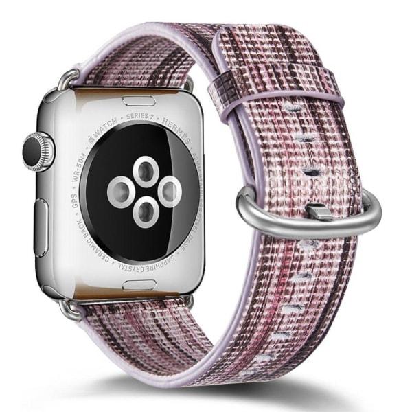 Apple Watch 38mm Färgat klockband i äkta läder - Brun vit