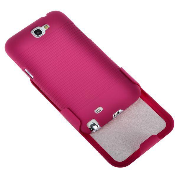 BeltClip KickStand (Het Rosa) Samsung Galaxy Note 2 Skal