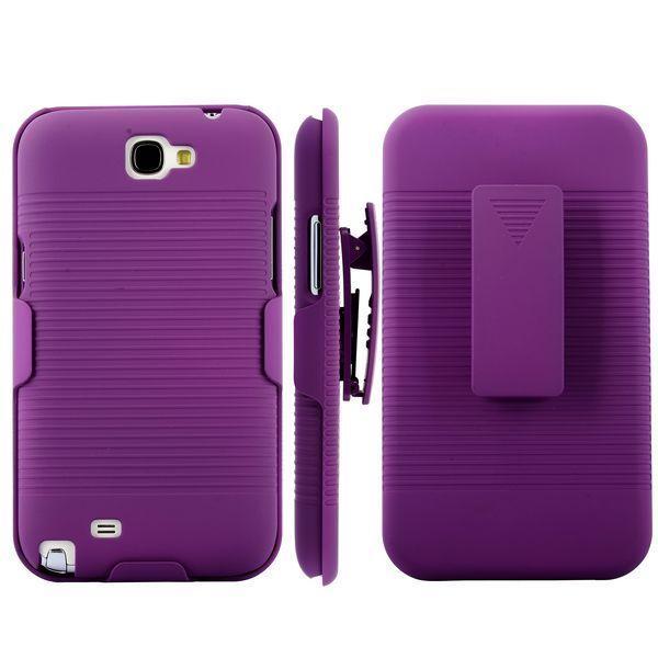 BeltClip KickStand (Lila) Samsung Galaxy Note 2 Skal