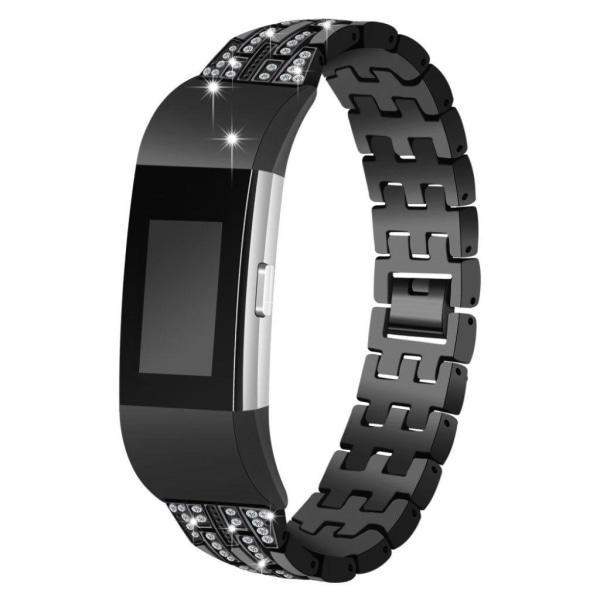 Fitbit Charge 2 urlänk metall strasstenar lyxig – Svart