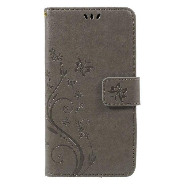 Huawei Honor 8 Lite fjäril läderfodral - Grå