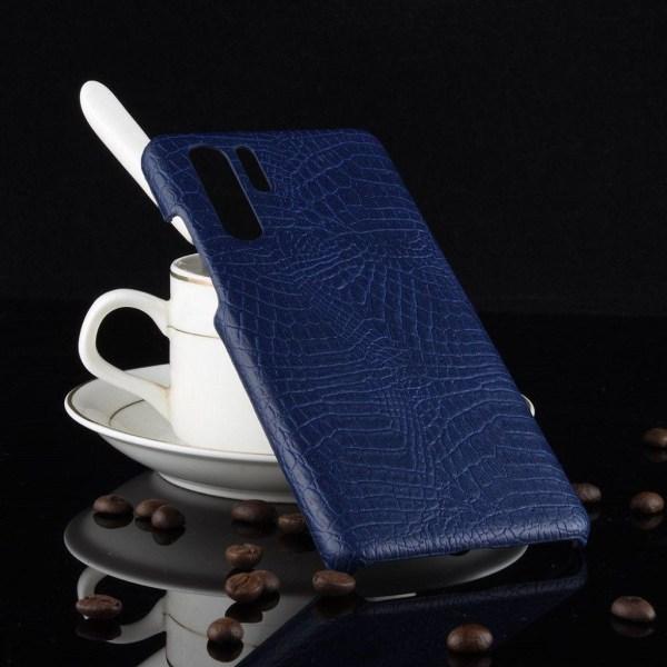 Huawei P30 läderfodral med krokodil textur - Blå