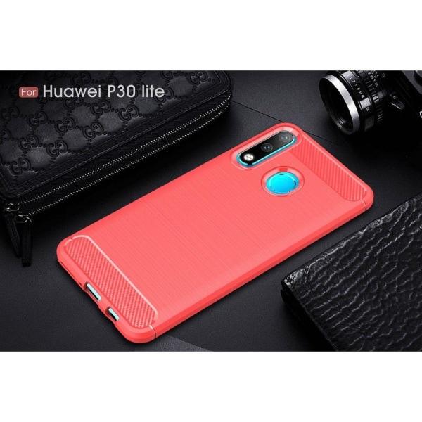 Huawei P30 Lite borstat skal med kolfibertextur - röd