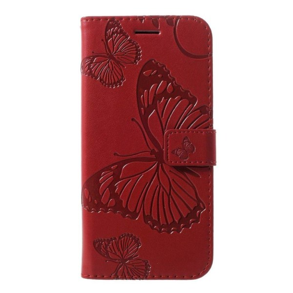Huawei P30 Lite imprint butterfly leather case - Red