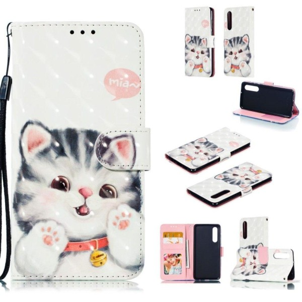 Huawei P30 plånboksfodral i läder dekor med ljusa punkter -