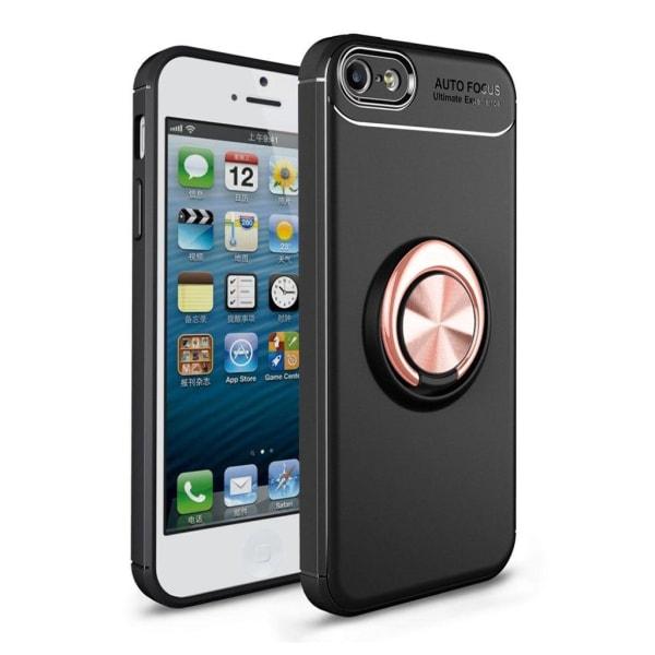 iPhone SE 5 5S Snyggt hybrid skal med en ring - Svart rose g