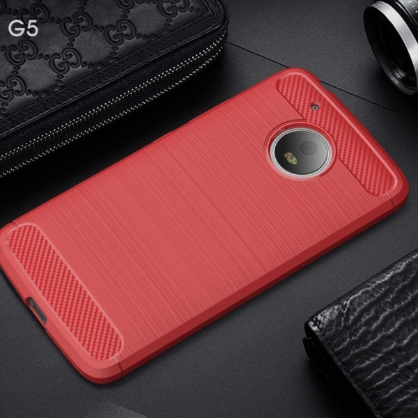 Motorola Moto G5 kolfiber silikonskal - Röd