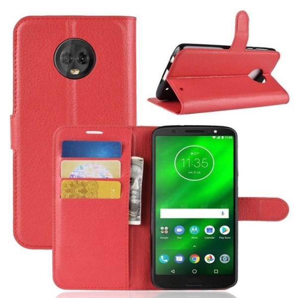 Motorola Moto G6 Plus mobilfodral PU läder plånbok stående p