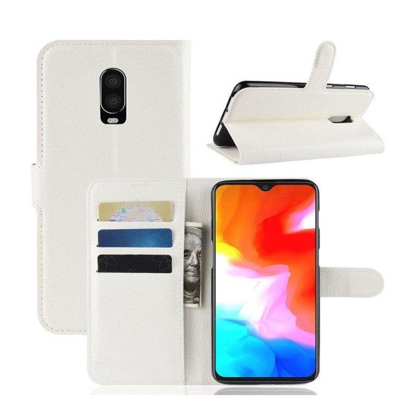 OnePlus 6T litchi skin leather flip case - White