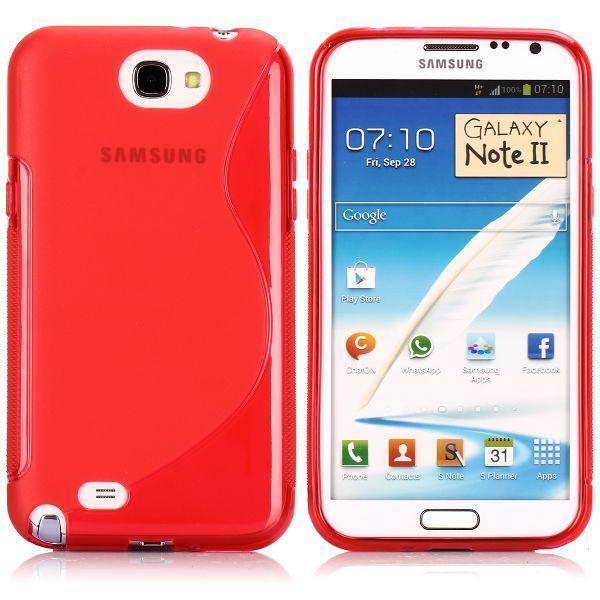 S-Line Transparent (Röd) Samsung Galaxy Note 2 Skal