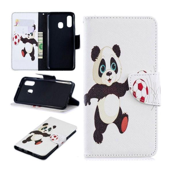 Samsung Galaxy A40 pattern leather case - Panda Playing Foot
