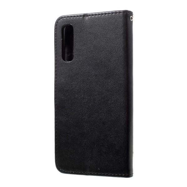 Samsung Galaxy A50 Fjärils avtryck läderfodral - Svart
