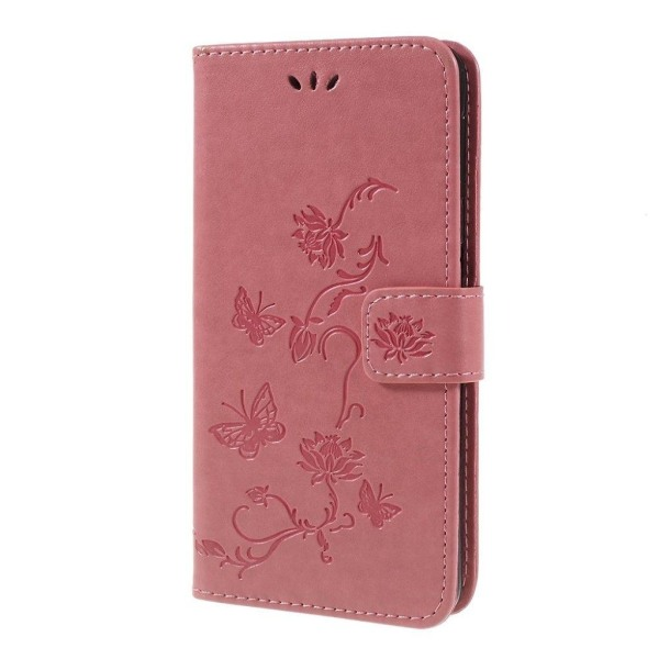 Samsung Galaxy A7 (2018) imprint butterfly flower leather ca