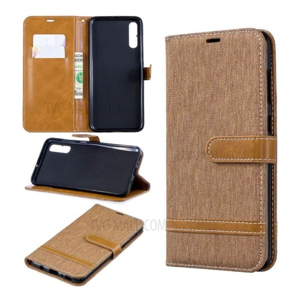Samsung Galaxy A70 two-tone jeans leather case - Khaki
