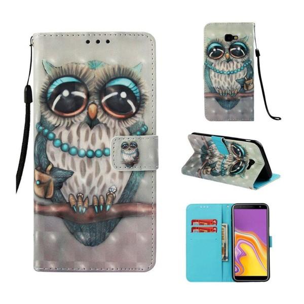 Samsung Galaxy J4 Plus (2018) leather flip case - Owl Standi