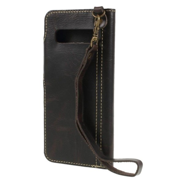 Samsung Galaxy S10 genuine leather flip case - Black