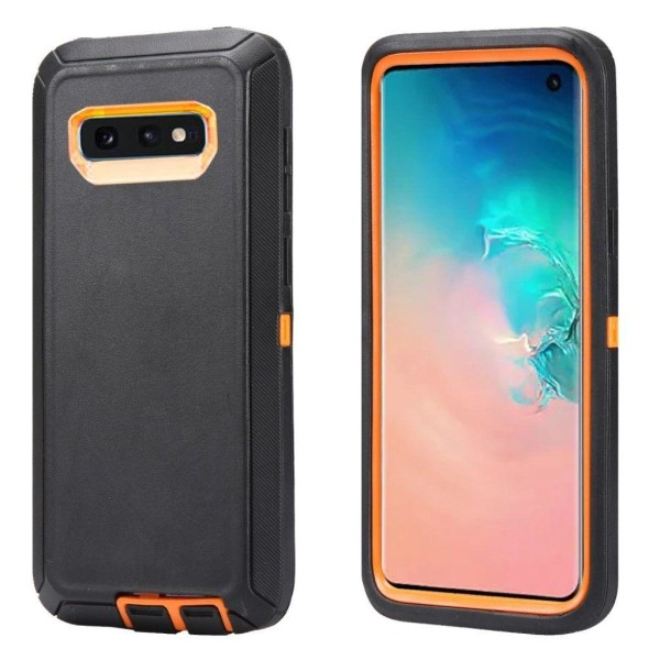 Samsung Galaxy S10e shockproof hybrid case - Orange / Black