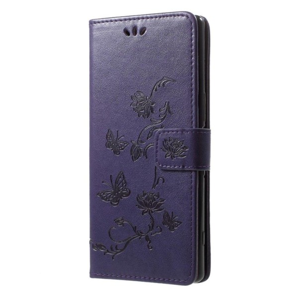 Sony Xperia 1 imprint butterfly leather case - Dark Purple