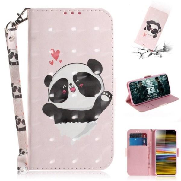 Sony Xperia 10 Plus Läderfodral med mönster - Söt Panda