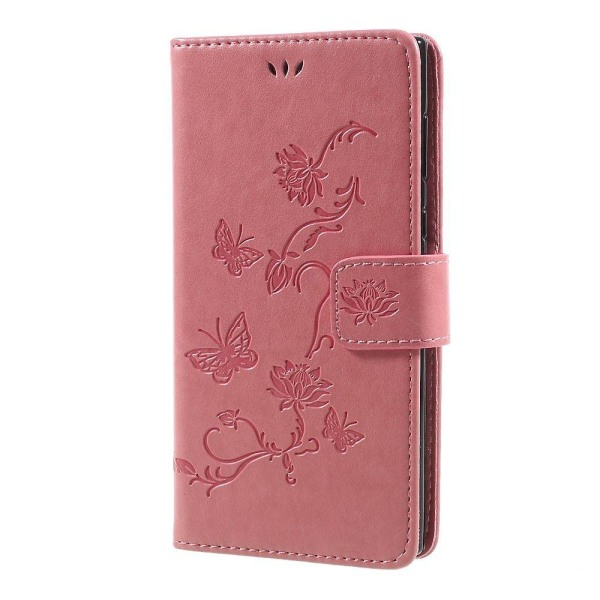 Sony Xperia L1 Fodral med modernt fjärils tryck - Ljus rosa