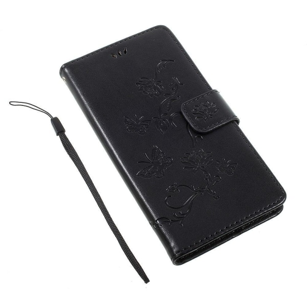 Sony Xperia L1 Fodral med modernt fjärils tryck - Svart