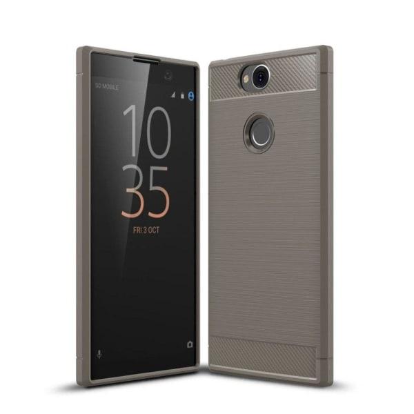 Sony Xperia XA2 Plus mobilskal silikon kolfiber borstad - Gr
