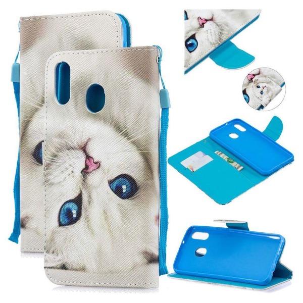 Wonderland Samsung Galaxy M20 flip case - White Cat