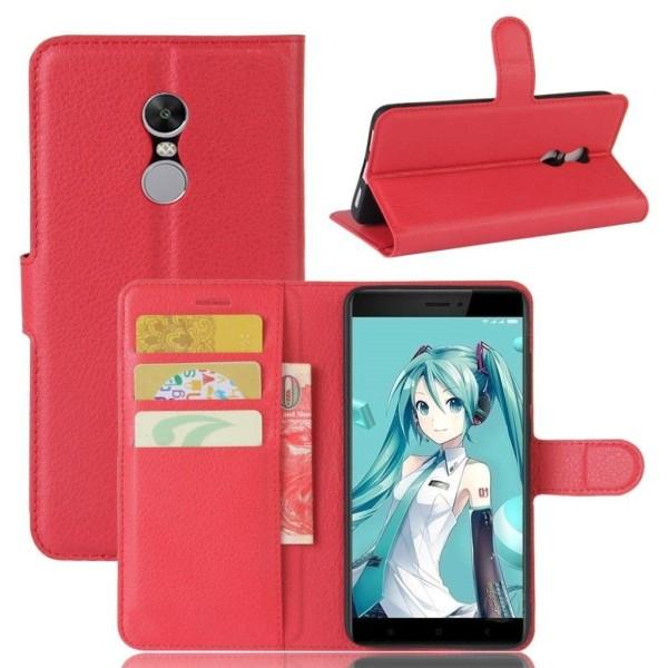 Xiaomi Redmi Note 4 Enfärgat fodral med plånbok - Röd