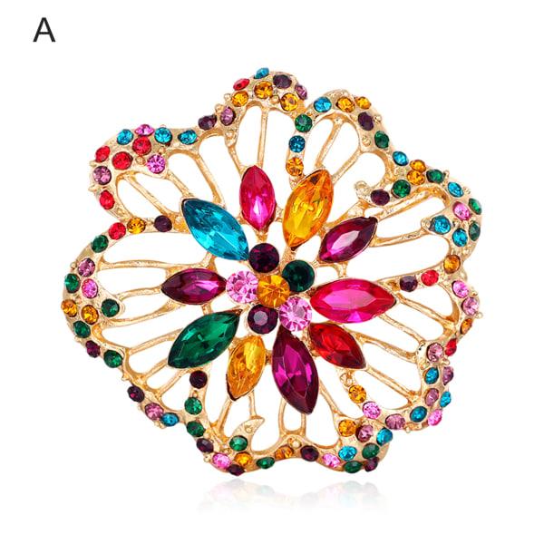 Glänsande elegant blomma fjäril geometri Rhinestone brosch A