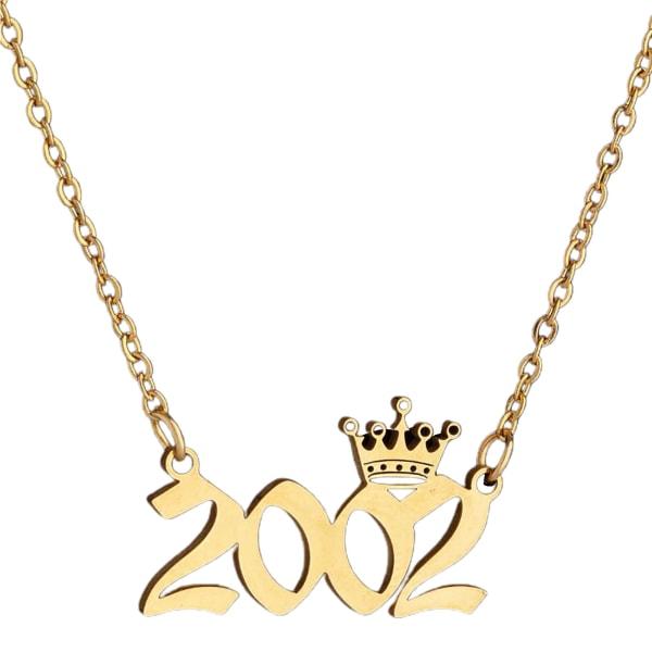 Crown rostfritt stål utsökt kedja halsband Golden 2002