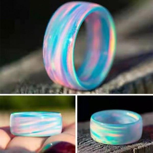 Ring Rainbow Pattern Wear Resistance Akrylring Green US 8