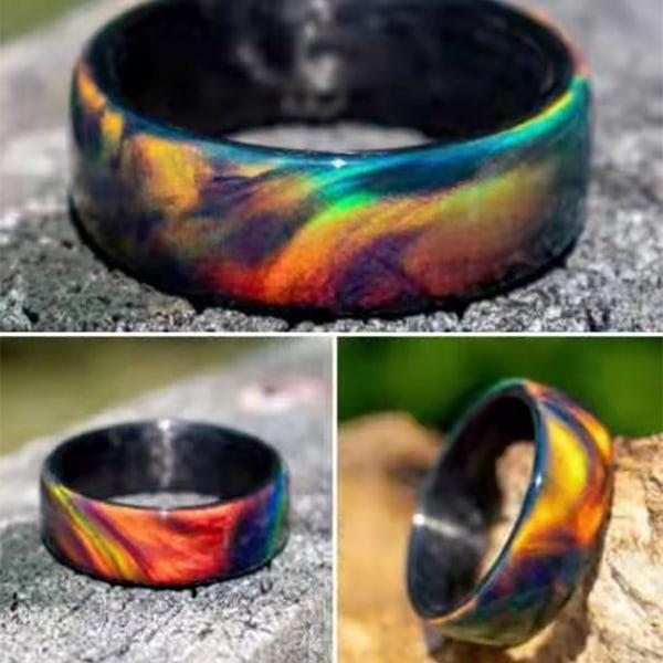Ring Rainbow Pattern Wear Resistance Akrylring Dark Blue US 7