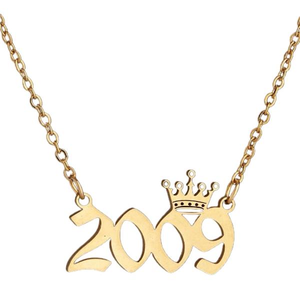 Crown rostfritt stål utsökt kedja halsband Golden 2009