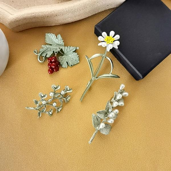 Flower Leaves Mönster Dekorativ legering klänning kostym Revers Pin