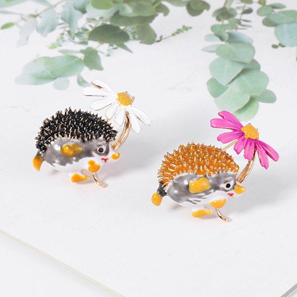 Kreativa Hedgehog Flower Shape Brosch Pin klädväska smycken Orange