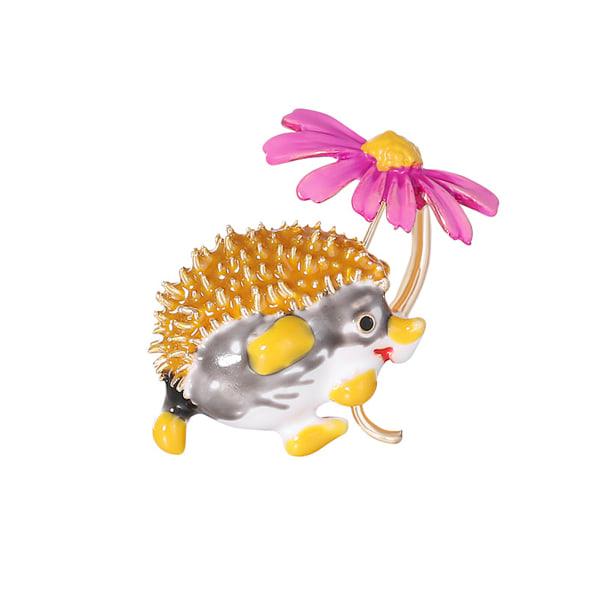 Kreativa Hedgehog Flower Shape Brosch Pin klädväska smycken Red