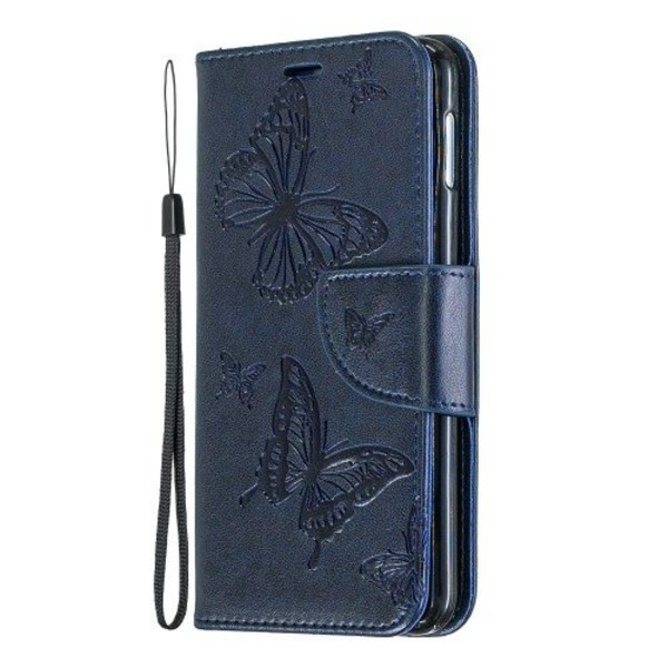 Fodral Samsung Galaxy S10 edge relieff fjäril mörkblå Blå
