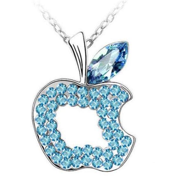Halsband Äpple apple vitguldpläterat, Blå