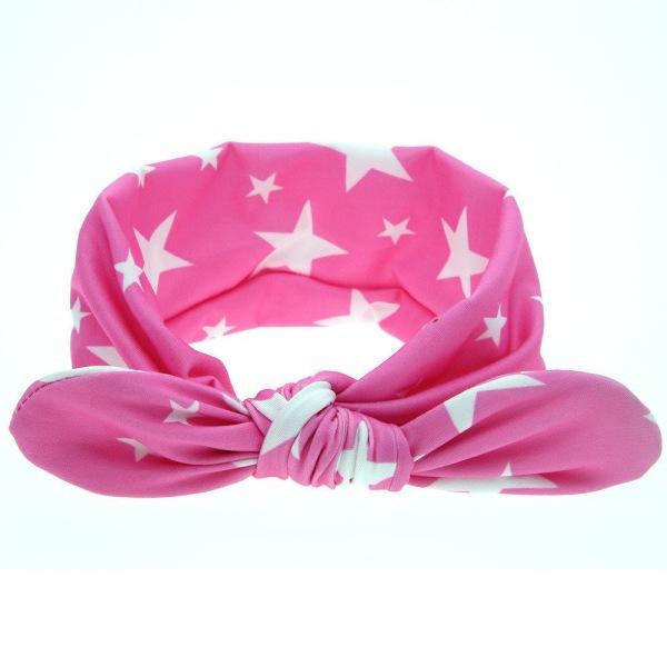 Hårband barn rosa med vita stjärnor one size