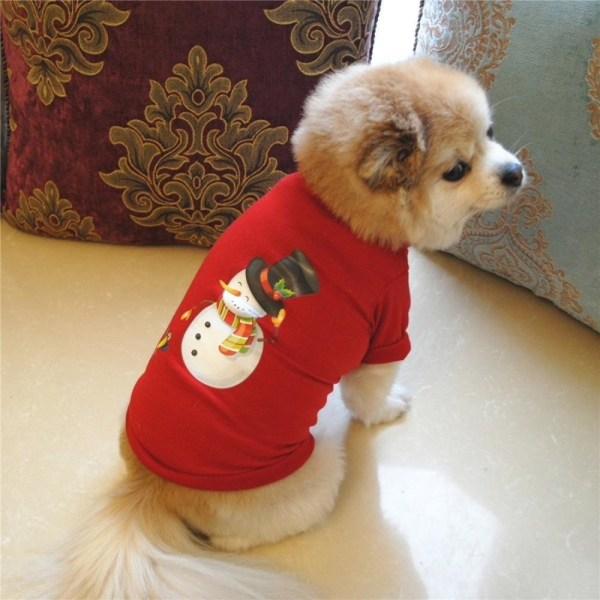 Hunddräkt/hundtröja röd med snögubbe Red L