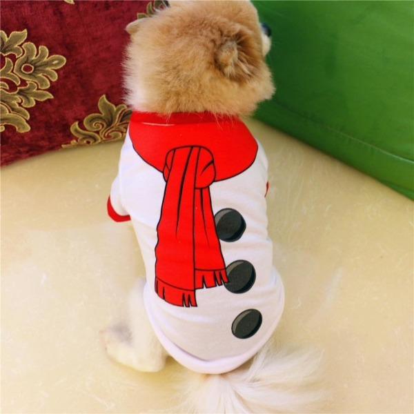 Hunddräkt/hundtröja vit med snögubbe S