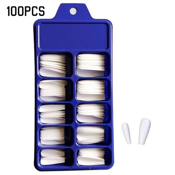 100x långa falska naglar konstgjorda nagelkonsttips Stick hela nageln White
