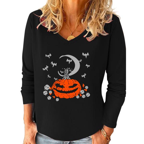 Plus storlek kvinnor Halloween pumpa tryckt långärmad baggy topp Black XL
